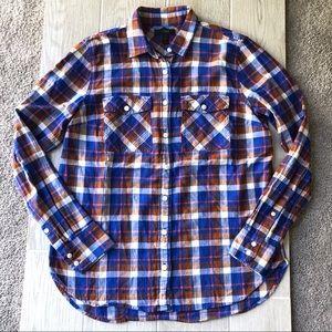 J. Crew blue and orange plaid flannel shirt